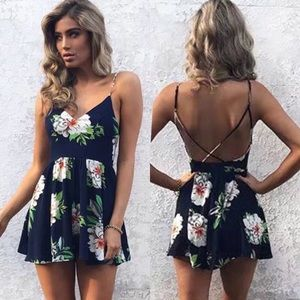 Open Criss Cross Back Fit and Flare Floral Romper